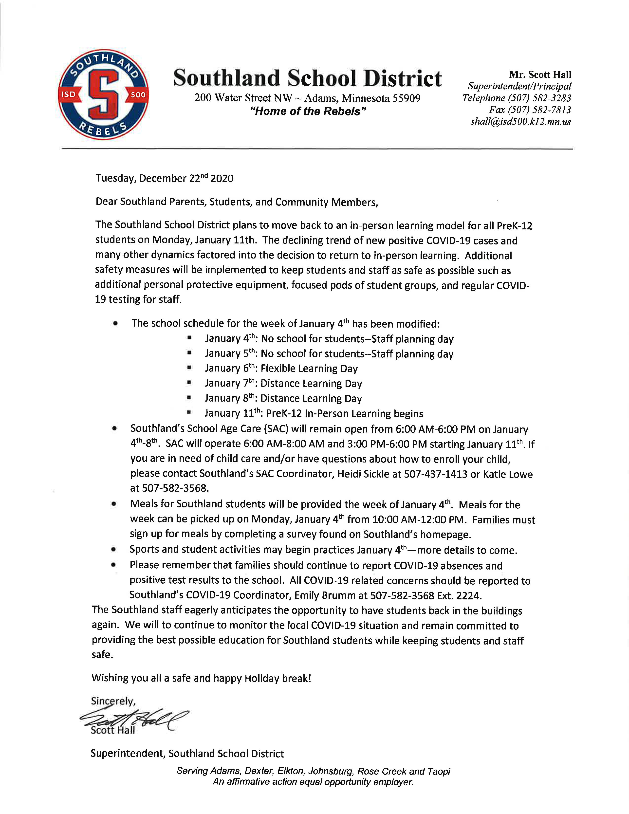 Southland Safe Learning Model Jan 11 2020
