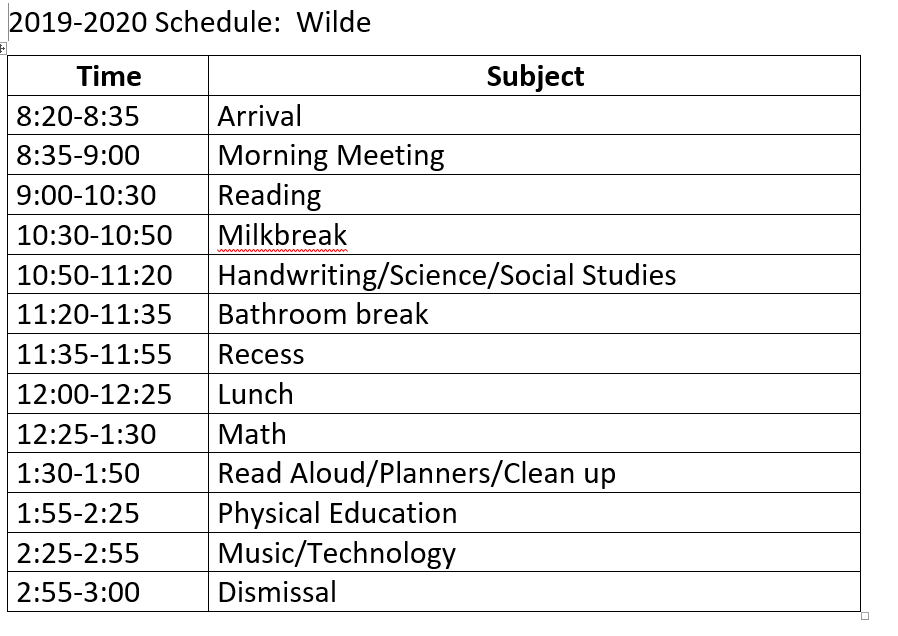 This is my schedule