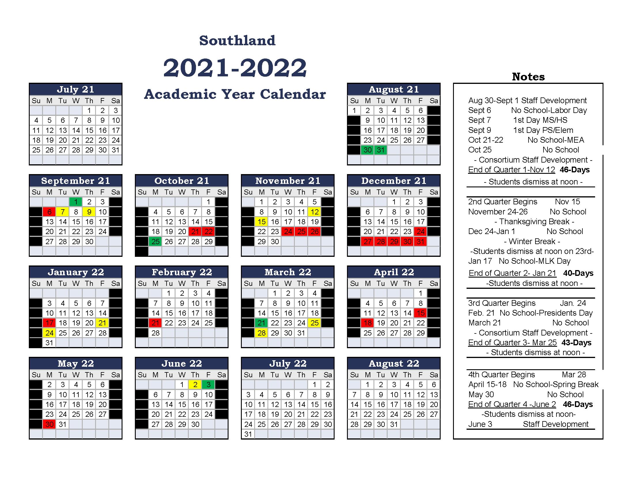 Visual Academic Calendar 20-21