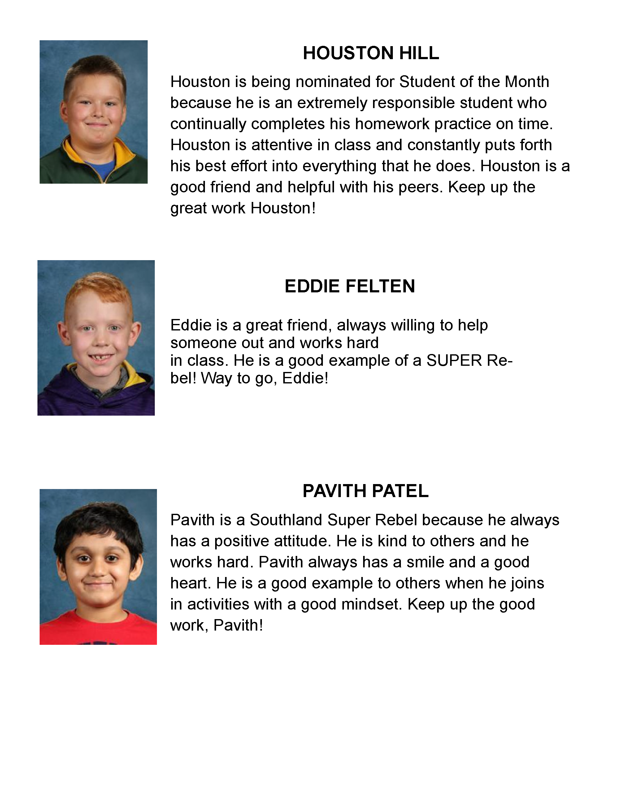 Elementary Students of the Month April 2021