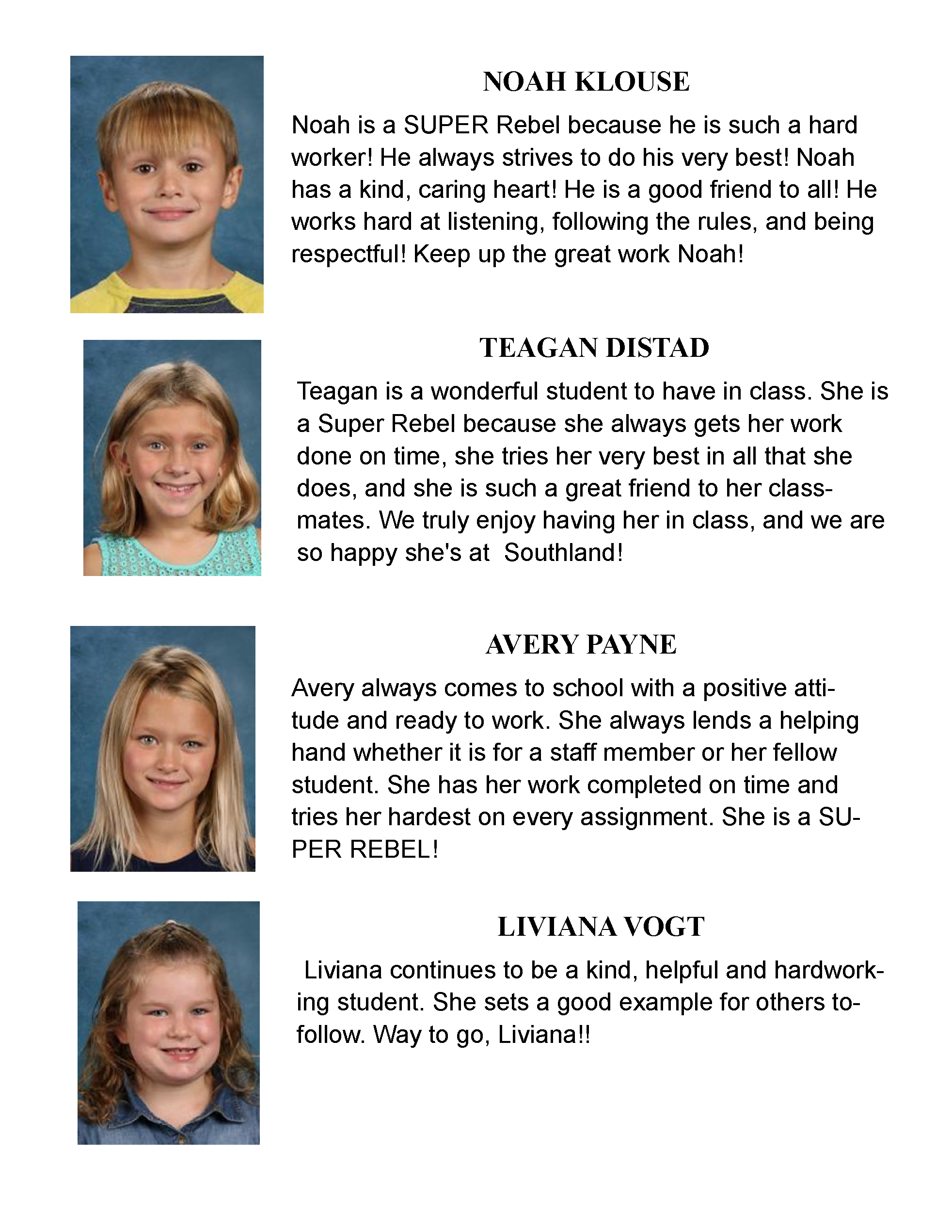 Elementary Students of the month for March 2021