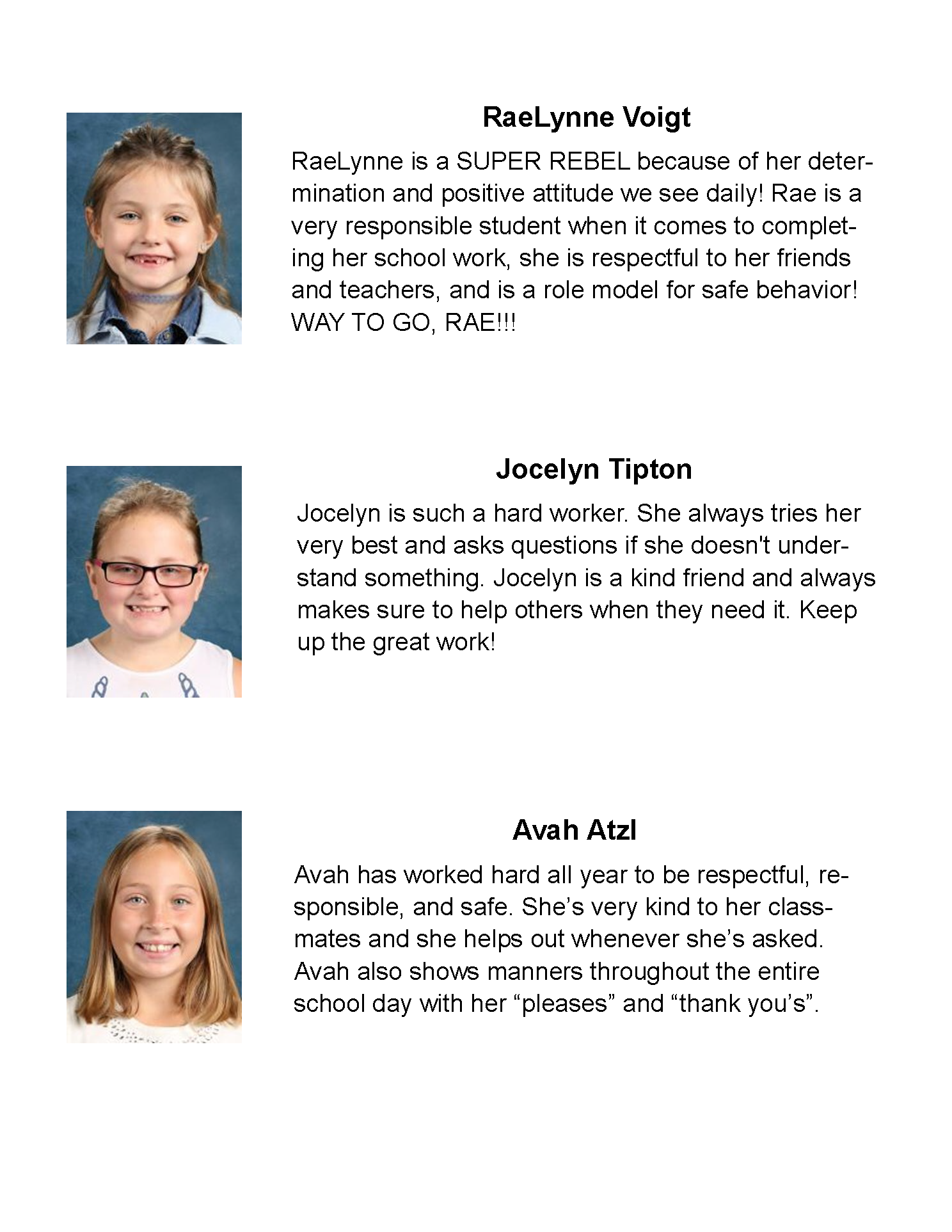 Students of the Month May 2021